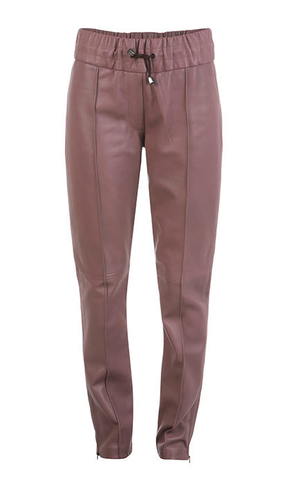 <p>ElleSD Leather Joggers in Pink, $630, <em>wolfandbadger.com</em></p>