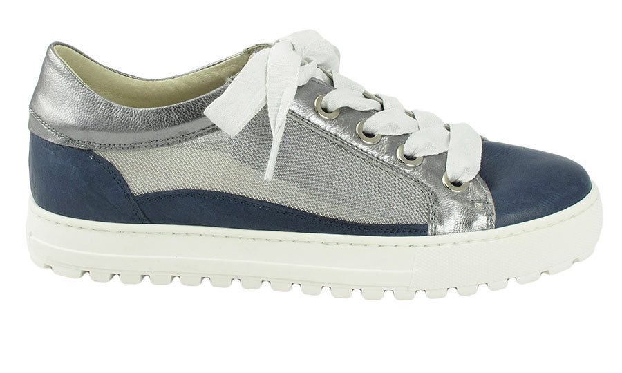 <p>The Layton Jeans Pewter Sneaker in Nappa, Metallic Nappa and Screen, $195, <em>ronwhiteshoes.com</em></p>