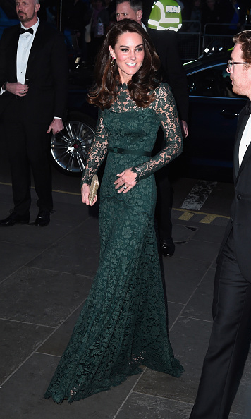 <p>The royal was dressed to impress, wearing a floor length dark green Temperley dress that featured delicate lace detailing.</p><p>Photo: &copy; Getty Images</p>