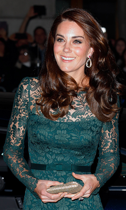 <p>She accessorized with a pair of special edition earrings by Kiki McDonough, that featured pink tourmaline, green amethyst and pave diamond earrings in 18ct yellow gold.</p><p>Photo: &copy; Getty Images</p>