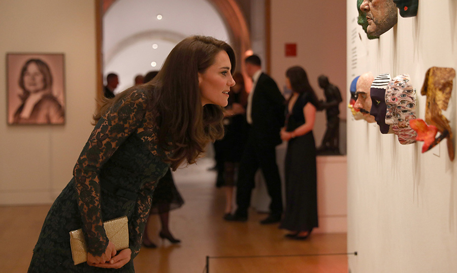 <p>Kate, who studied history of art at university, viewed two exhibitions: Howard Hodgkin: Absent Friends and Gillian Wearing and Claude Cahun: Behind the mask, another mask.</p><p>The mum-of-two took a closer look at some of the ten masks that were created especially for the evening by the likes of Dame Vivienne Westwood and Philip Treacy, to help raise funds for the museum.</p><p>Photo: © Getty Images</p>