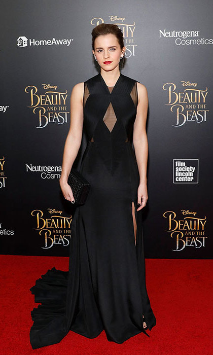 Emma Watson wore a black custom Givenchy number for the <em>Beauty and The Beast</em> screening in New York City