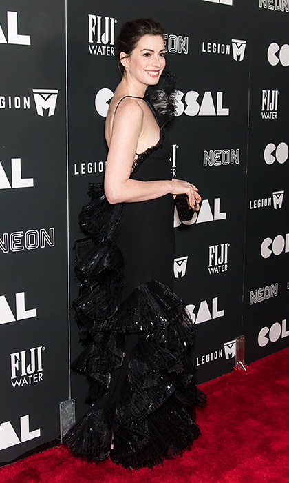 Anne Hathaway turned heads in a vintage Armani Prive gown for the <em>Colossal</em> premiere in New York City.
