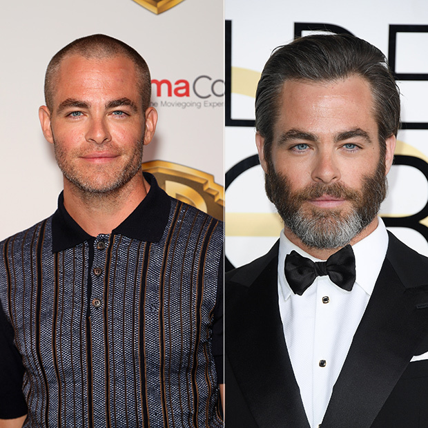 A very different looking Chris Pine stepped out at CinemaCon in Las Vegas on Mar. 29! The actor debuted a  clean-shaven look, complete with bald head! It was a drastic change for the handsome actor, who back in January walked the red carpet the Golden Globes sporting a heavy beard and full head of hair. 