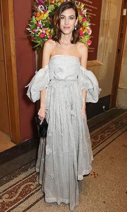 <strong>Mar. 28:</strong>Alexa Chung dressed to impress in this bandeau gown with statement sleeve detailing at the National Portrait Gallery's Portrait Gala.