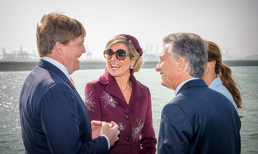 Queen Maxima of the Netherlands had it made in the shades with husband King Willem-Alexander, left, Argentina's President Mauricio Macri and his wife Juliana Awada during an boat trip in the harbour of Rotterdam on March 28. 