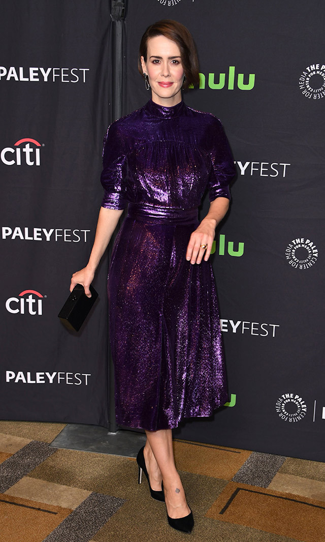 Sarah Paulson shined in a metallic purple velvet Prada cocktail dress and Tamara Mellon black suede pumps at PaleyFest.<p>Photo: © Getty Images</p>
