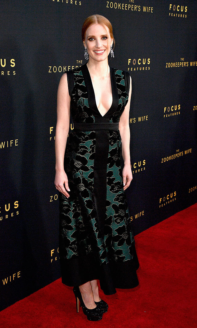 Jessica Chastain stunned in this Alexander McQueen gown with floral velvet detail at the Hollywood premiere of <em>The Zookeeper's Wife</em>. <p>Photo: © Getty Images</p>