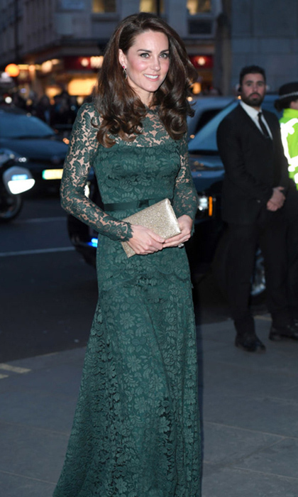 Kate looked lovely in lace for her evening at the National Portrait Gallery's 2017 gala wearing a hunter green Temperley London gown.