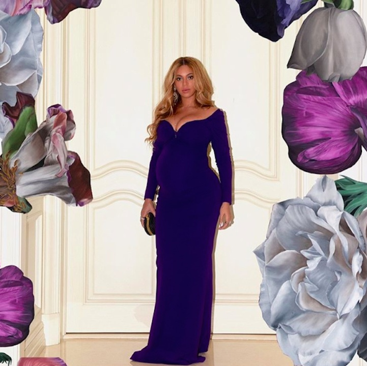 Beyoncé delighted fans on Saturday (Apr. 1) by sharing another set of images from a dazzling maternity photo shoot. The expectant star stunned in a form-fitting off-the-shoulder purple gown featuring a beautiful sweetheart neckline. 