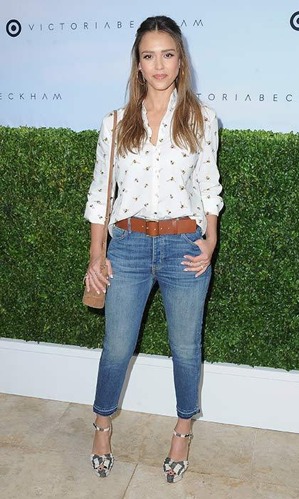 "Jessica Alba worked a casual cool look in this bee print blouse and relaxed jeans. Writing about the outfit on Instagram, Jessica wrote: ""This printed button down is everything!""
