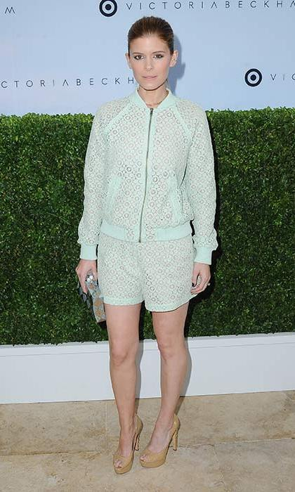Kate Mara was summer ready in this mint green bomber and shorts co-ord. The actress accessorised the look with nude peep toe heels and a clutch bag.