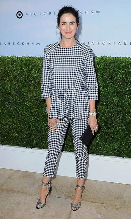 Camilla Belle turned heads in this black and white gingham top and co-ordinating cropped trousers.