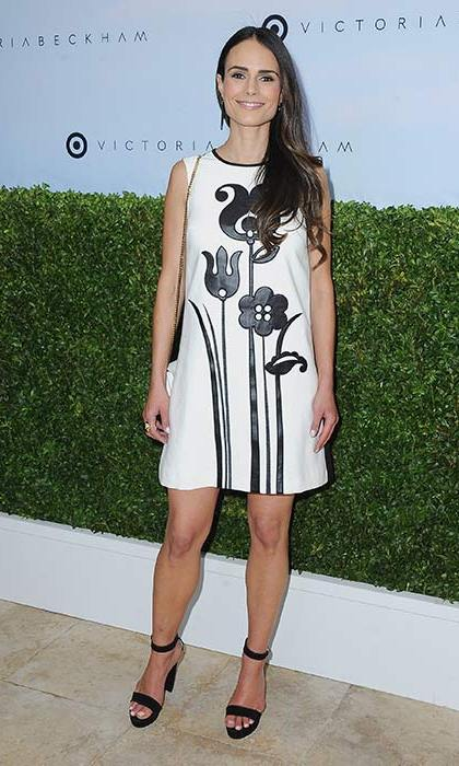 Jordana Brewster also wore a monochrome look from Victoria Beckham's collection. We love her flower print shift dress and matching sandals.