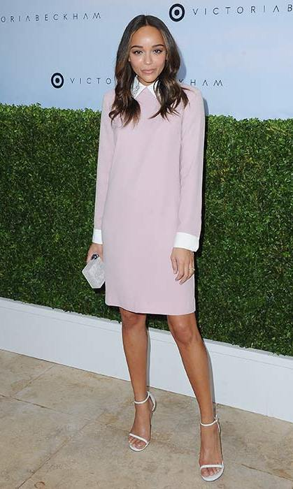 Ashley Madewke was pretty in pink in this long sleeved dress with contrasting white collar and cuff details.