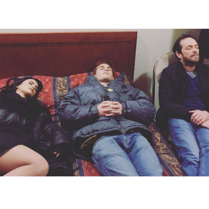 <h2><strong>They take naps together</strong></h2><p>During a long night shoot, Camila, KJ and <em>90210</em> star Luke Perry had some little shut eye together in between takes.</p><p>Photo: © Instagram</p>