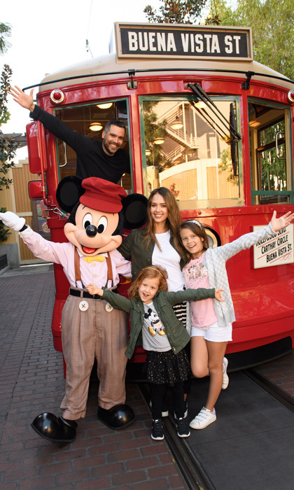 Jessica Alba had a good view with her husband Cash Warren and children Honor and the Haven at Disney California Adventure Park in Anaheim, California.