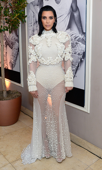 <h4>Apr. 2:</h4> Kim Kardashian West was sheer – and pearl – perfection at the Daily Front Row's 3rd Annual Fashion Los Angeles Awards at Sunset Tower Hotel. 