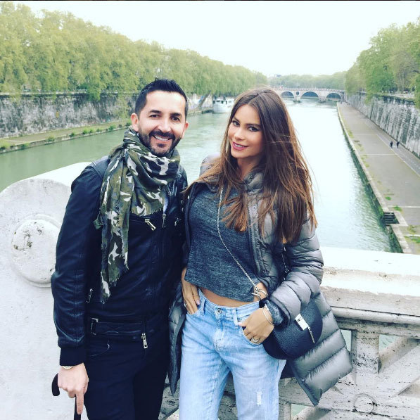 Sofia Vergara in Rome with her friend Franco