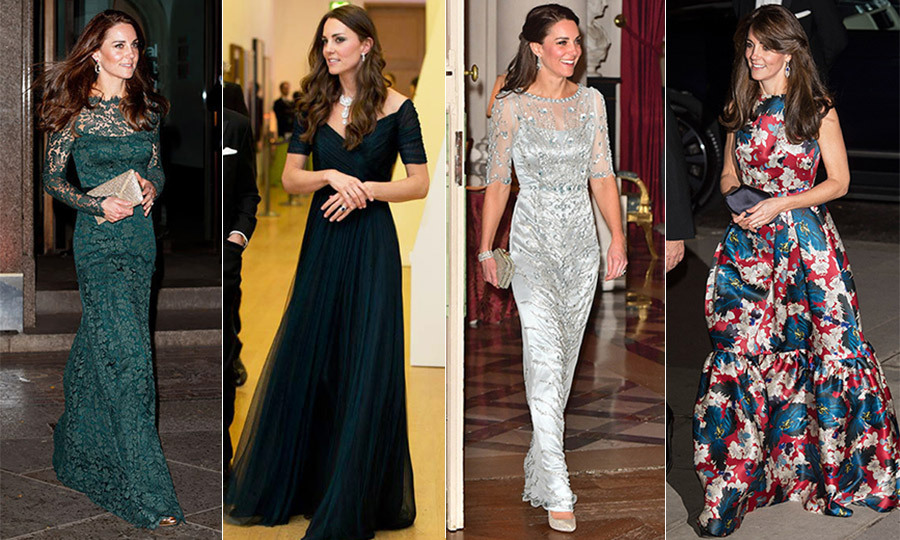 Whenever Kate steps out for a formal affair, all eyes are on her latest evening look. From elegant, off-the-shoulder chiffon gowns to pops of red or turquoise, silky one-shouldered grey affairs and trendy mullet-style confections, the Duchess of Cambridge always keeps us guessing. 