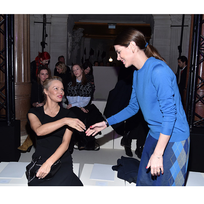 Pleased to meet you! Princess Grace's daughter Charlotte Casiraghi met Pamela Anderson at the Stella McCartney show during Paris Fashion Week on March 6, 2017.