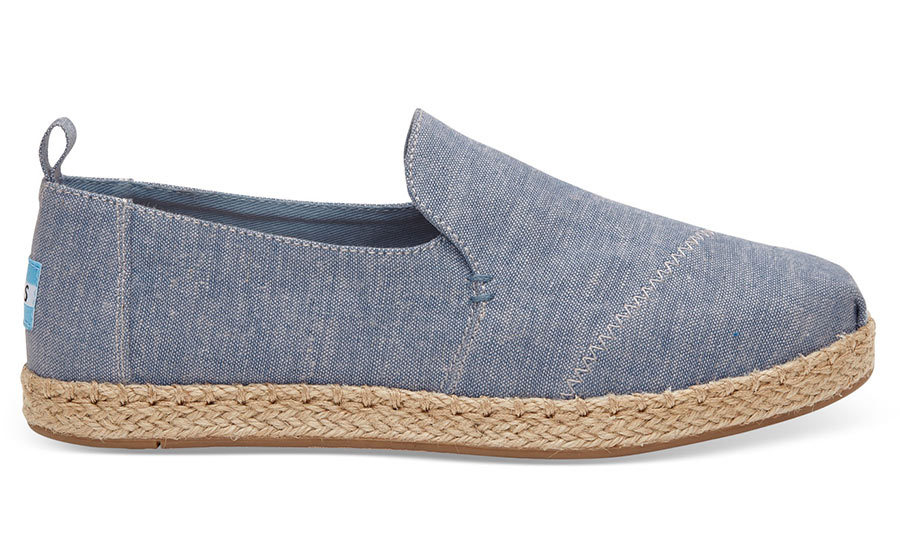 <h3>Denim Heaven</h3><p>Blue Slub Chambray Women's Deconstructed Slippers, $75, <em>toms.ca</em></p>