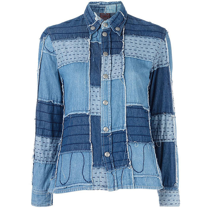 <h3>Denim Heaven</h3><p>Jean Paul Gaultier Vintage Patchwork Denim Shirt, $646, <em>farfetch.com</em></p>