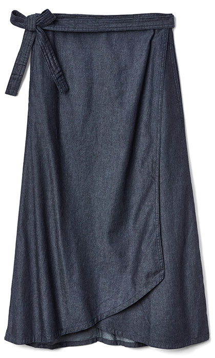 <h3>Denim Heaven</h3><p>Denim Midi Wrap Skirt in Rinse, $70, <em>gapcanada.ca</em></p>