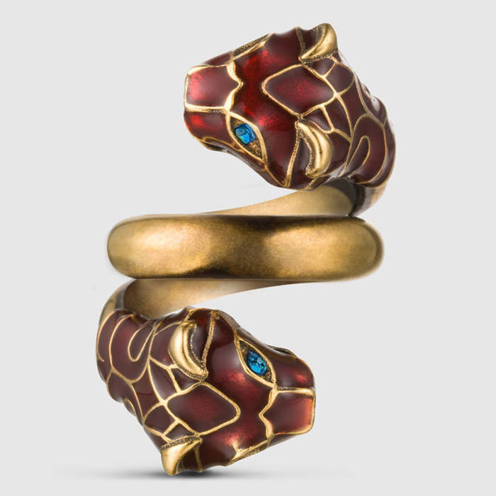 <h3>Planet Earth</h3><p>Tiger Head Ring With Enamel, $480, <em>gucci.com</em></p>
