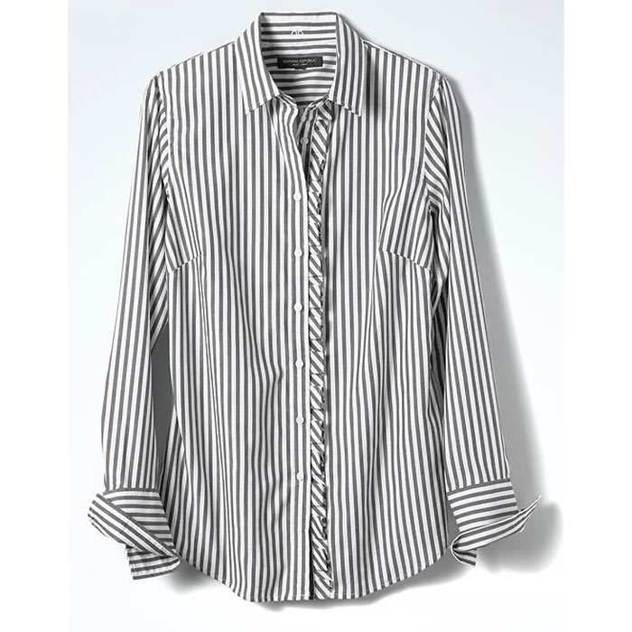 <h3>Prep School</h3><p>Riley-Fit Asymmetrical Ruffle Placket Shirt, $85, <em>bananarepublic.gapcanada.ca</em></p>