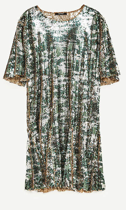 <h3>Super Sequins</h3><p>Sequinned Camouflage Dress, $60, <em>zara.com</em></p>