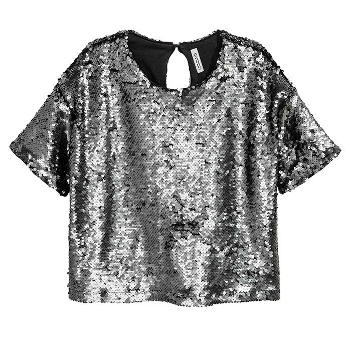 <h3>Super Sequins</h3><p>Sequinned Top, $30, <em>hm.com</em></p>