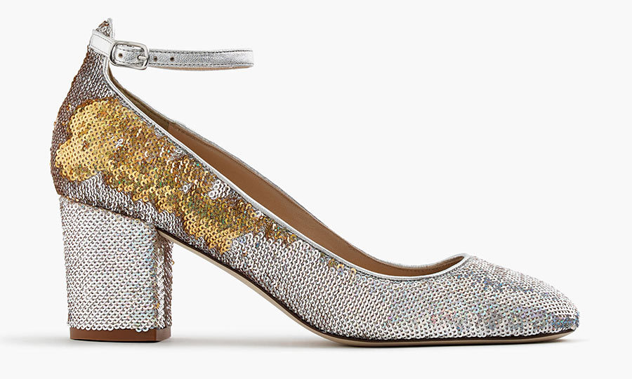 <h3>Super Sequins</h3><p>Sophia Pumps in Sequin, $215, <em>jcrew.com</em></p>