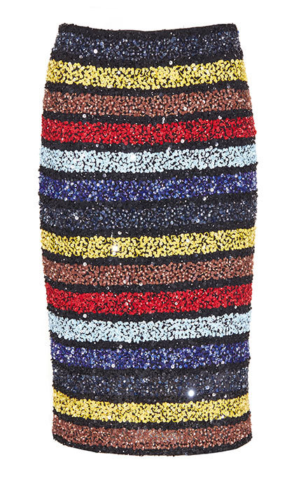 <h3>Super Sequins</h3><p>Ramos Embellished Fitted Skirt, $614, <em>aliceandolivia.com</em></p>
