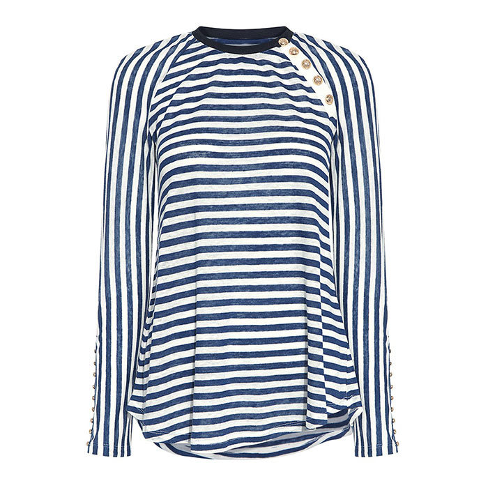 <h3>Yacht Club</h3><p>Derek Lam 10 Crosby Sailor Striped Tee in Stripe, $328, <em>ifchic.com </em></p>