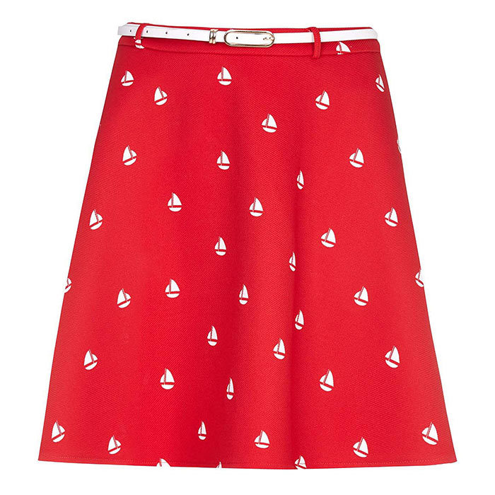 <h3>Yacht Club</h3><p>Yumi Boat Print Skirt in Red, $67, <em>houseoffraser.co.uk</em></p>