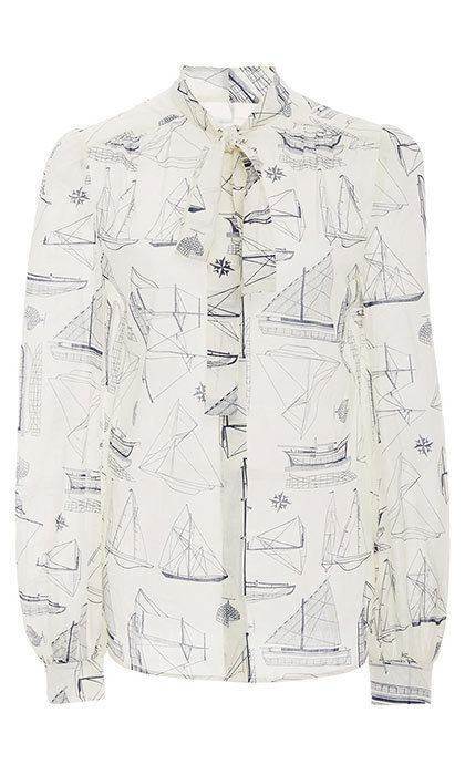 <h3>Yacht Club</h3><p>Kia Bow Blouse, $300, <em>toryburch.com</em></p>