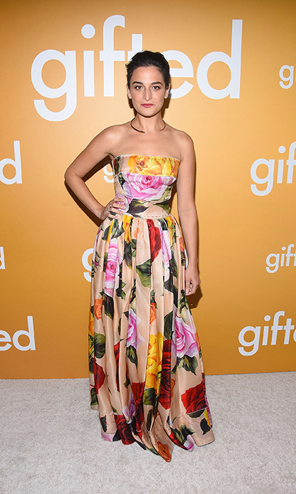 <h4>Apr. 4:</h4> Jenny Slate looked lovely in a floral frock by Dolce & Gabbana at the premiere of Gifted in Los Angeles. 