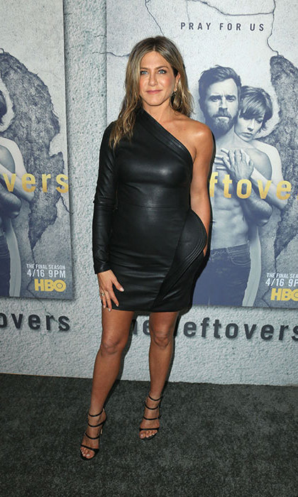 <h4>Apr. 4:</h4>Jennifer Aniston rocked a black leather minidress by Brandon Maxwell at the season three premiere  of her husband Justin Theroux's hit HBO series <em>The Leftovers</em>. 