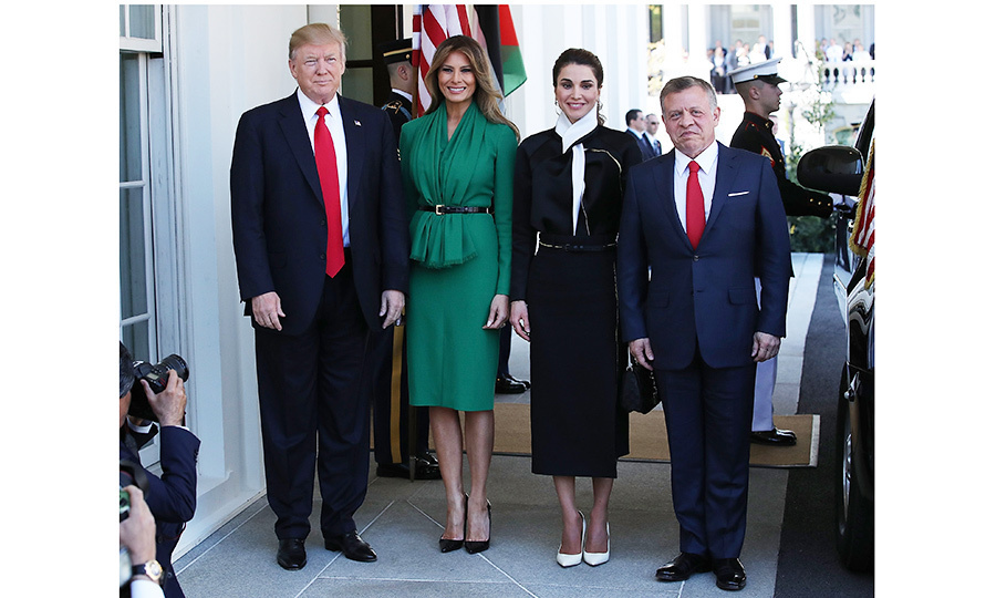 On April 5, President Trump and First Lady Melania Trump welcomed Jordan's King Abdullah and his wife Queen Rania to the White House.