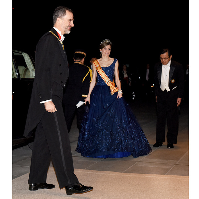 Joined by her husband King Felipe, left, Queen Letizia of Spain looked like the belle of the ball at an official gala during the royals' visit to Japan.