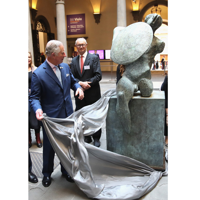 Prince Charles unveiled a sculpture by Henry Moore at the Palazzo Strozzi to mark the Centenary of the British Institute in Florence during his royal visit to Florence, Italy.