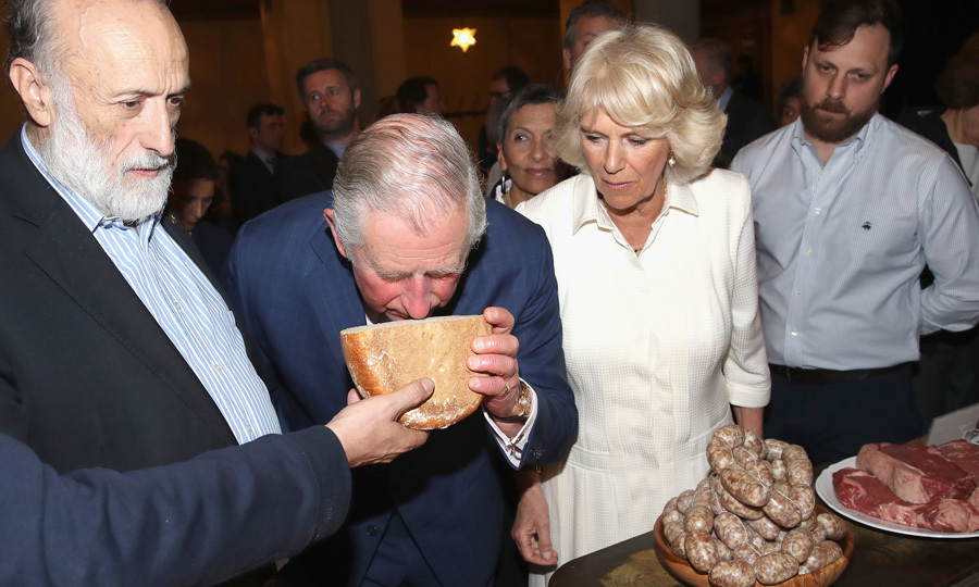 Smells good! Prince Charles took a whiff of cheese, while visiting the Sant'Ambrogio Market to celebrate the Slow Food movement, which strives to prevent the disappearance of local food cultures and traditions and counteract the rise of the fast food culture.