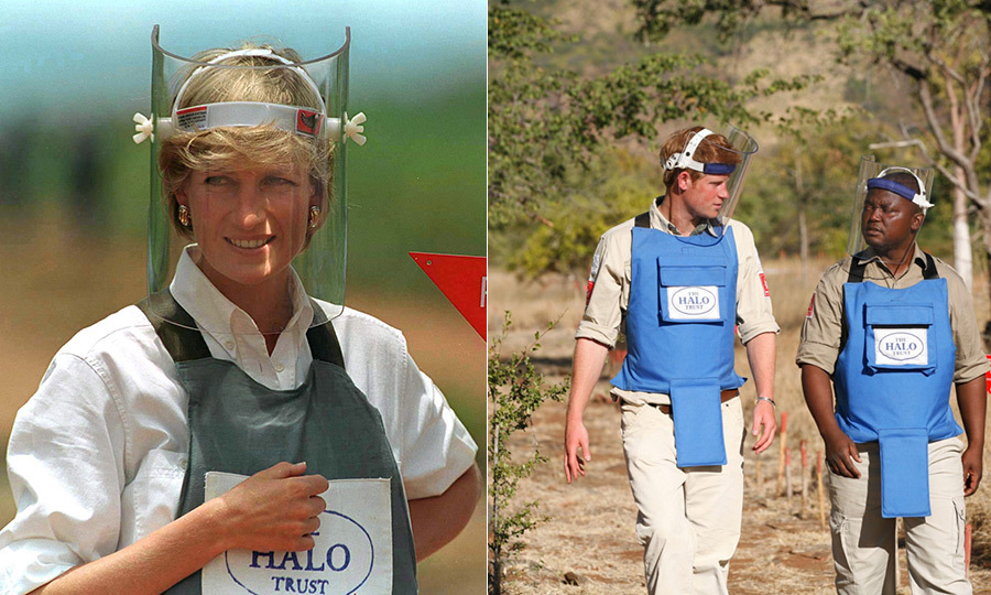 In 2013, Prince Harry retraced Diana's footsteps during a visit to Angola, where Diana famously walked through a clear minefield in 1997. 