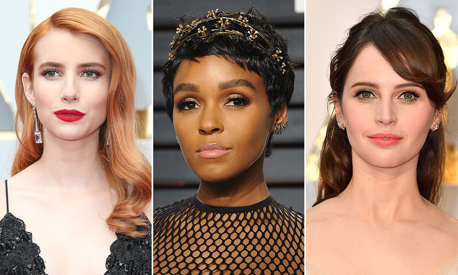 From Emma Roberts' blorange locks to Janelle Monáe's  floral headband and Felicity Jones swept back and beautiful style at the Oscars, this year's award season served up some major hair inspiration. 