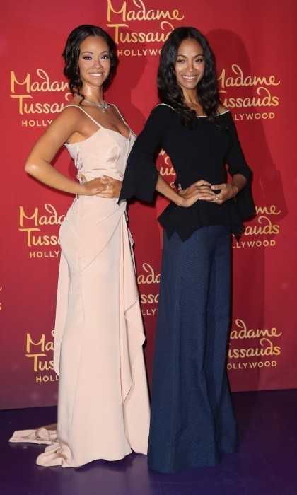 <h4>Apr. 7:</h4> Seeing double! Zoe Saldana had a blast at Madame Tussauds Hollywood, where she unveiled her wax figure. The 38-year-old actress was joined by her mom and her husband Marco Perego as she hugged and kissed her twin.