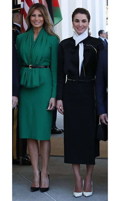 Queen Rania of Jordan and First Lady Melania Trump coordinated in belted dresses and pointy pumps during the Jordanian royal's visit to the White House.