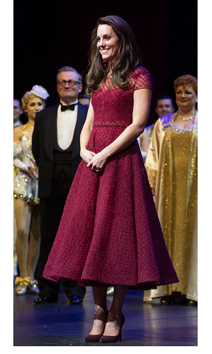 Kate stepped out for the Opening Night Royal Gala performance of '42nd Street' in London wearing a gorgeous tea length dress by Marchesa.