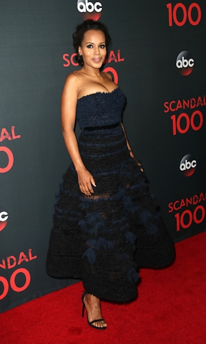 <h4>Apr. 8:</h4> Kerry Washington slipped into a strapless navy gown with sheer panels to celebrate 100 episodes of her hit political drama <em>Scandal</em> in West Hollywood. 