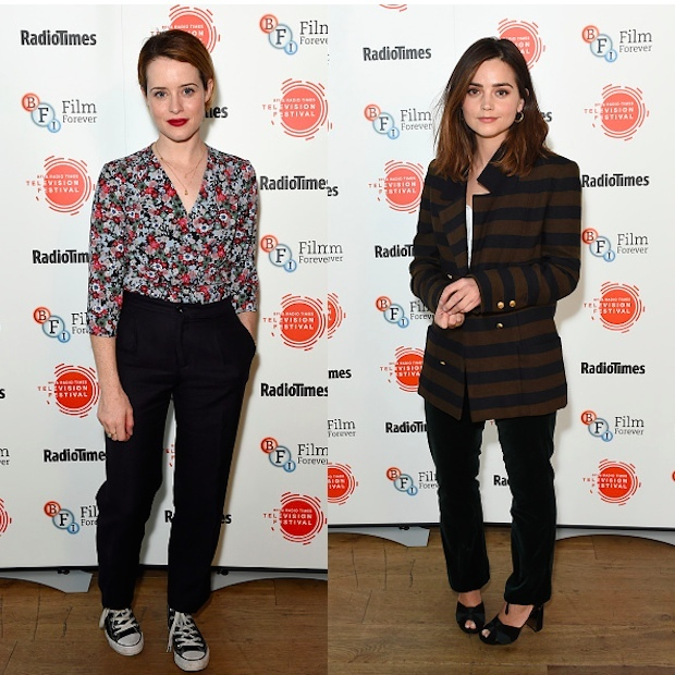 <h4>Apr. 8:</h4> A tale of two Queens! Both Claire Foy (L) and Jenna Coleman attended the BFI & Radio Times TV Festival in London to talk about their monarchy dramas. Claire plays Queen Elizabeth II in <em>The Crown</em> while Jenna plays Queen Victoria in <em>Victoria</em>. 